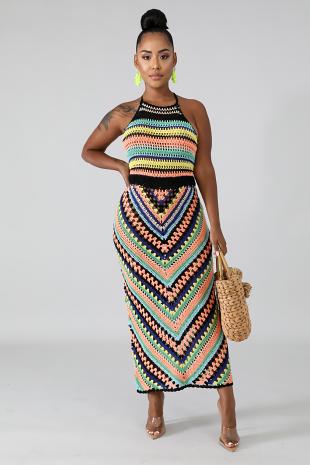 Chevron Crochet Maxi Dress