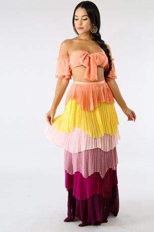Pleated Color Maxi Skirt Set