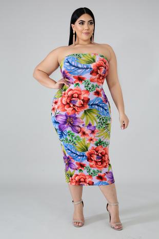 Blossom Tube Midi Dress