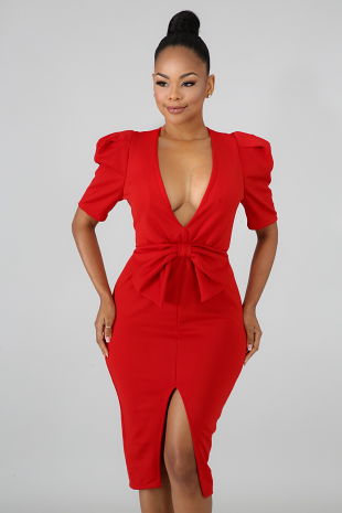 Bow Peplum Bodycon Dress