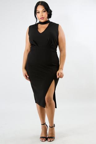 Choker Slit Body-Con Dress
