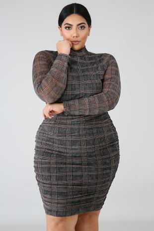 Plaid Scrunch Midi Dress