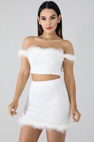 Neon Furry Skirt Set