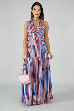Belted Stripe Maxi Dress