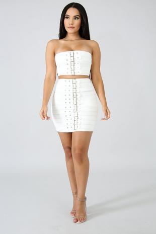 Bandage Belt Skirt Set