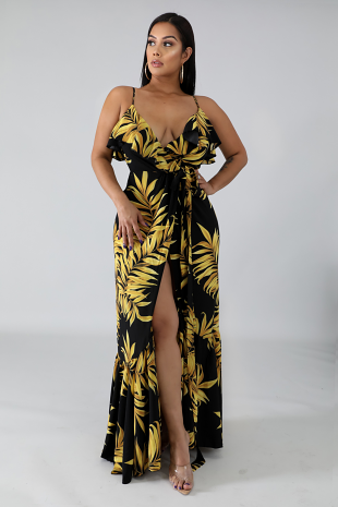 Golden Leaves Wrap Dress
