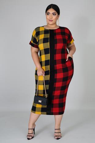 Can't Be Plaid Midi Dress