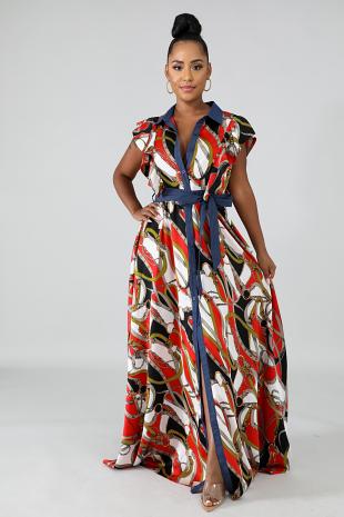 Chiffon Ropes Maxi Dress