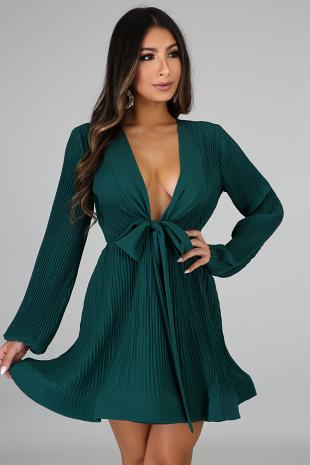 Pleated Swirled Tie Dress