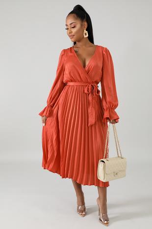 Silky Pleated Flaring Dress