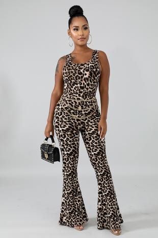 Cheetah Crop Top Set