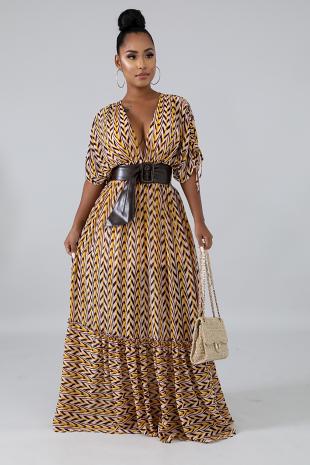 Chiffon Chevron Maxi Dress