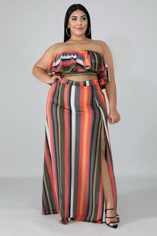 Ruffle Stripe Knit Skirt Set