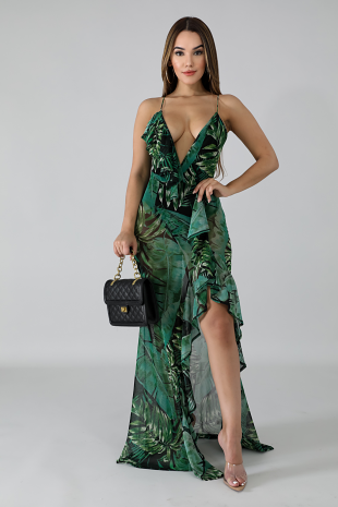 Sheer Flutter Leaves Dress