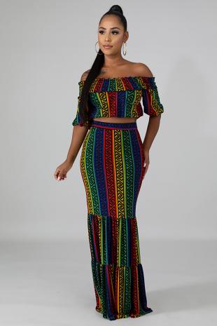 Color Masonic Ruffle Skirt Set