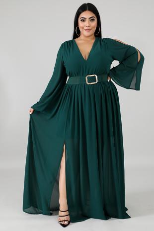 Chiffon Slit Maxi Dress