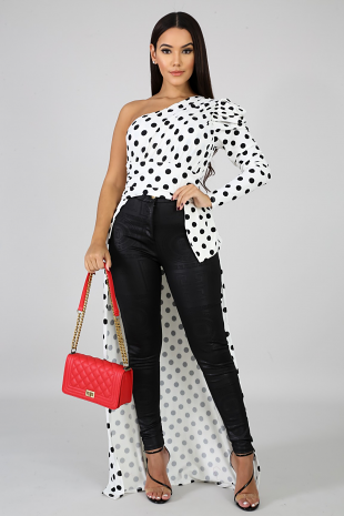 Polka Dot Long Tail Top