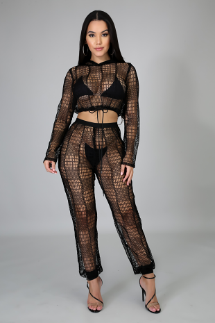 Netted Jogger Set