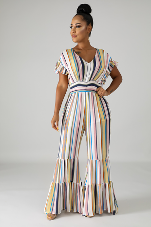 Popping Stripe Bell Jumpsuit