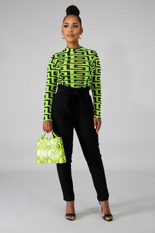 Sheer Neon Maze Bodysuit