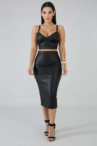 Leatherette Skirt Set