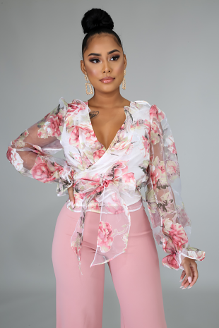 Rosy Wrap Blouse