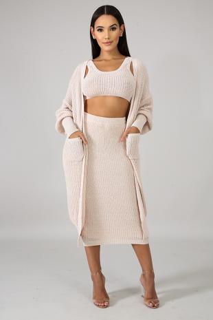 Warming Up Cardigan Set