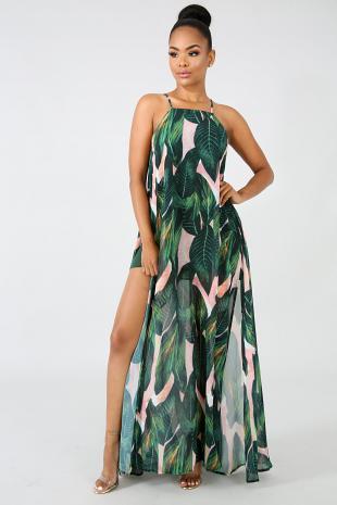 Forest Sheer Maxi Dress