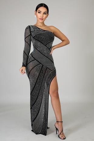 Studs Mermaid Slit Dress