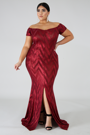 Chevron Shine Maxi Mermaid Dress