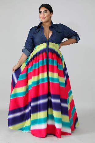Denim Thrill Maxi Dress