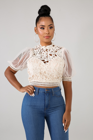 Floral Crochet Lace Top