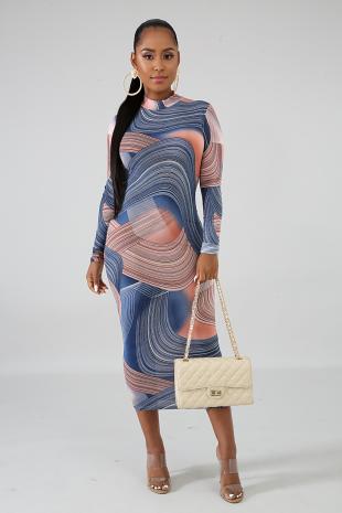 Blue Marbled Midi Dress