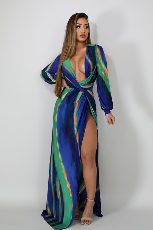 Belted Chain Maxi Dress