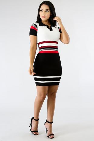Collard Knit Midi Dress