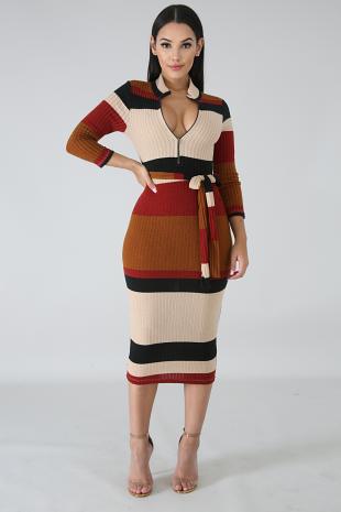 Waffle Knit Body-Con Dress