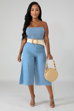 Denim Tube Capri Jumpsuit