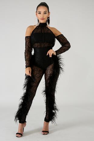 Feathery Lace Jumpsuit