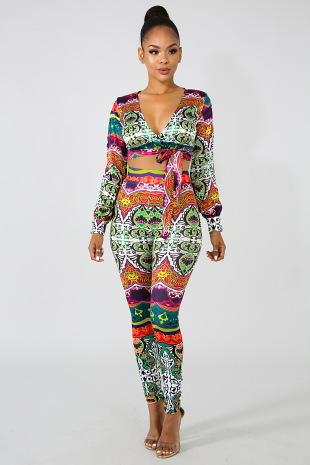 Color Paisley Legging Set