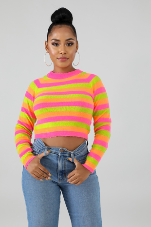 Neon Stripe Fuzzy Top