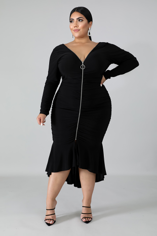 Zipped Flare Dress