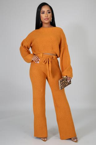 Knit Bell Bottom Pant Set