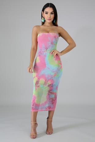 Color Dye Tube Body-Con Dress