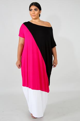 Color Block Dolmen Maxi Dress