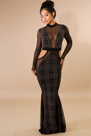 Mesh Sparkle Mermaid Maxi Dress