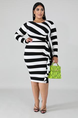 Flutter Stripe Body-Con Dress