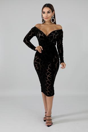 Sheer Patch Body-Con Dress