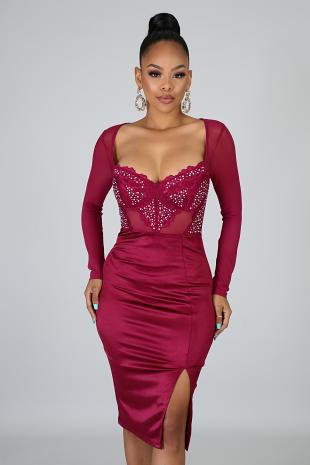 Satin Jewel Body-Con Dress