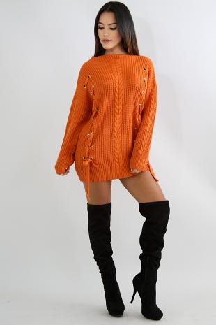 Eyelet Lace Up Sweater Tunic