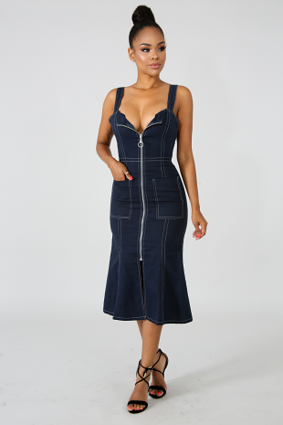Denim Zip Slit Dress